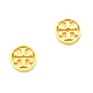 Tory Burch gold TT logo earrings